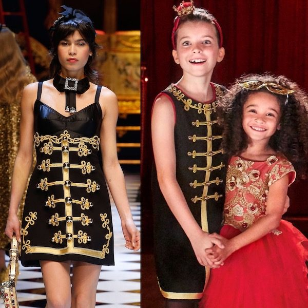 DOLCE & GABBANA Girls Mini Me Black Wool Military Dress