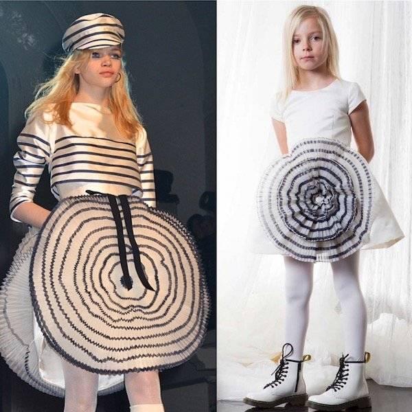 ba186bb392f1 JUNIOR GAULTIER Girls Mini Me Ivory Stripy Blue Appliqué Dress ...