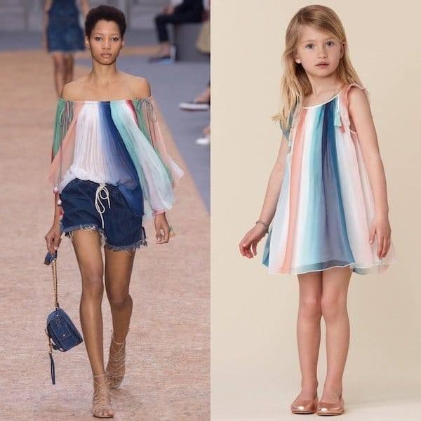 CHLOÉ Girls Mini Me Blue Striped Silk Dress