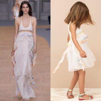 CHLOE-Girls-Mini-Me-White-Pastel-Color-Trim-Dress
