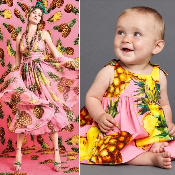DOLCE & GABBANA Baby Girls Mini Me Pink Pineapple Dress