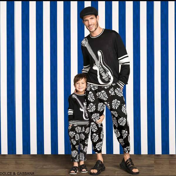 DOLCE GABBANA Boys Mini Me Black Jazz Sweater & Cotton Palm Tree Pants