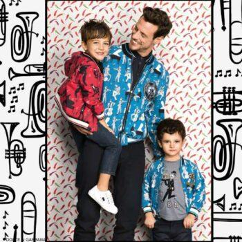 DOLCE GABBANA Boys Mini Me Blue or Red Jazz Music Print Shirt