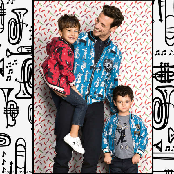 DOLCE & GABBANA BOYS MINI ME BLUE OR RED JAZZ MUSIC PRINT OUTFIT