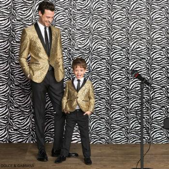 DOLCE GABBANA Boys Mini Me Gold Silk Jacquard Blazer
