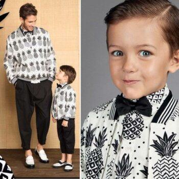 DOLCE & GABBANA Boys Mini Me Ivory Bomber Jacket & Shirt with Black Pineapples