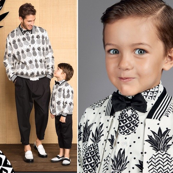 DOLCE & GABBANA Boys Mini Me Ivory Bomber Jacket & Shirt with Black Pineapples