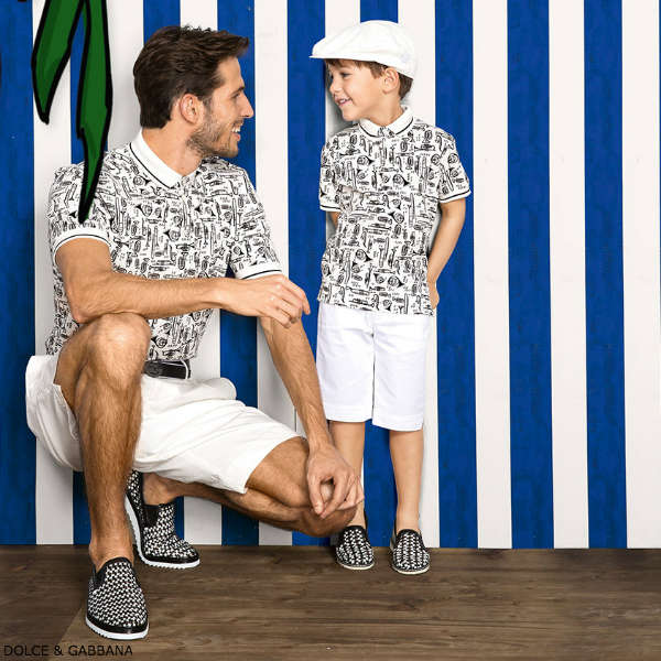 DOLCE GABBANA Boys Mini Me White Black Trumpet Print Polo Shirt