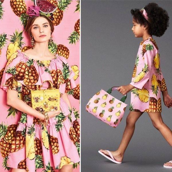 DOLCE & GABBANA Girls Pink Pineapple Print Kaftan Dress