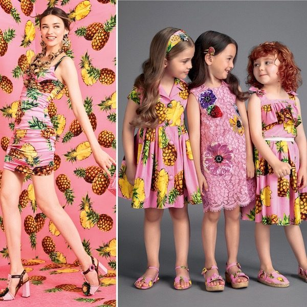 DOLCE & GABBANA Girls Mini Me Pink Pineapple Print Outfit