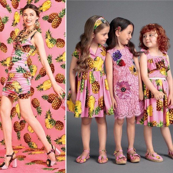 DOLCE & GABBANA Girls Mini Me Pink Pineapple Print Outfit