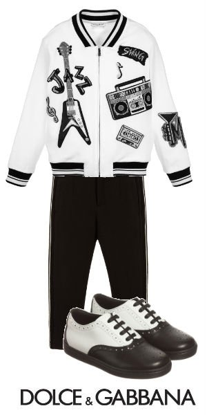 DOLCE GABBANA Mini Me Boys White Bomber Jacket with Music Applique
