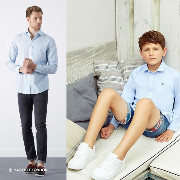 Hackett London Boys Mini Me Blue Cotton Shirt & Jeans