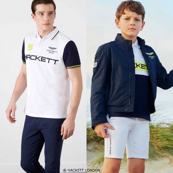 Hackett London Boys Mini Me White Blue Aston Martin Racing Outfit