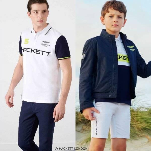 HACKETT LONDON Boys Mini Me White Blue Aston Martin Racing Outfit