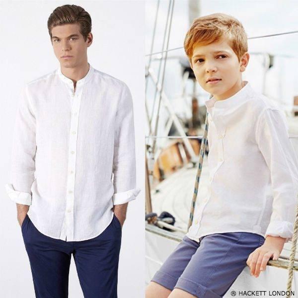 Hackett London Boys Mini Me White Linen Shirt