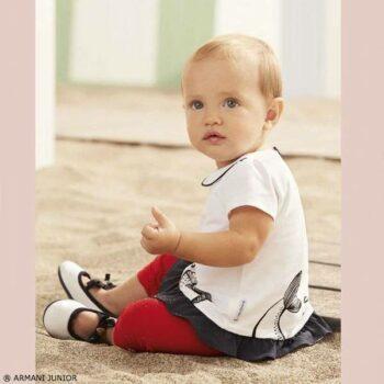 ARMANI JUNIOR Baby Girls White Blue Dress