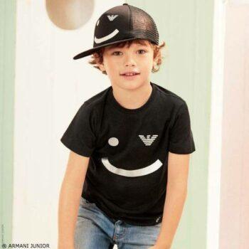ARMANI JUNIOR Boys Black Smile Logo T-Shirt