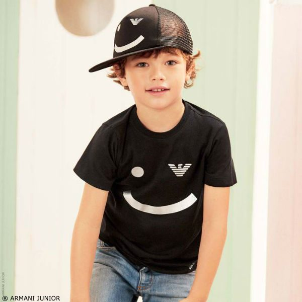 ARMANI JUNIOR Boys Black Smile Logo T-Shirt