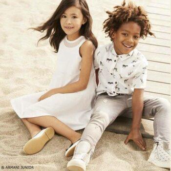 ARMANI JUNIOR Boys White Grey Striped Animal Print Reversible Shirt