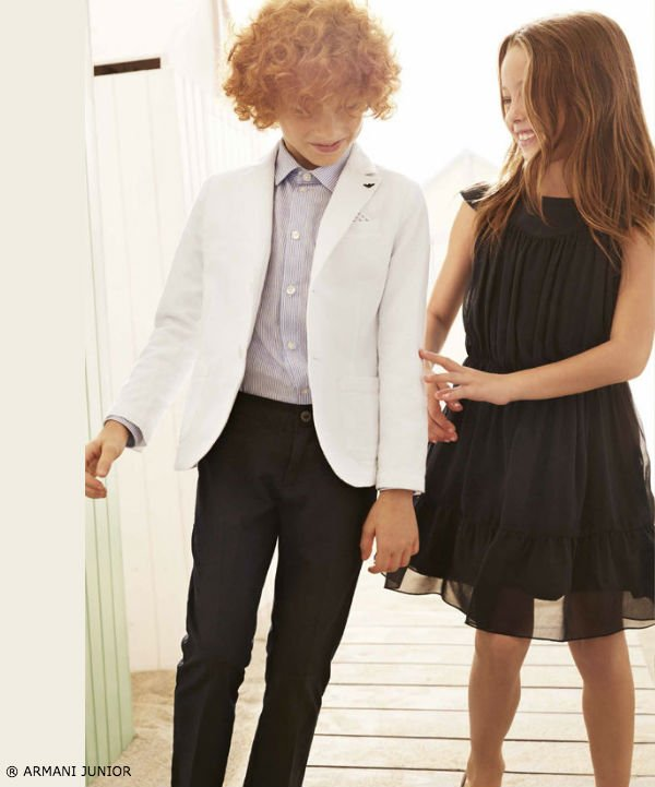 ARMANI JUNIOR BOYS WHITE LINEN BLAZER AND BLACK DRESS PANTS