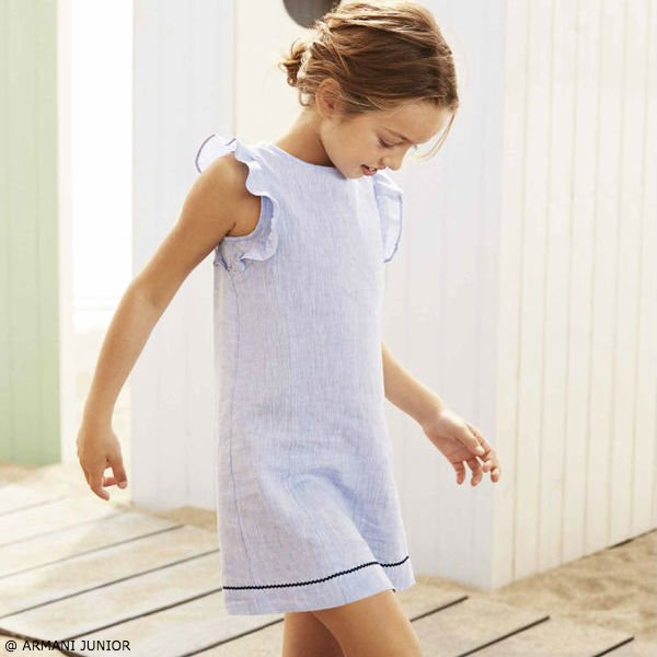 ARMANI JUNIOR Girls Blue Linen Dress with Ruffles