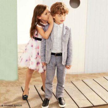 ARMANI JUNIOR Girls White Pink Floral Silk Dress Boys Grey Linen Jacket