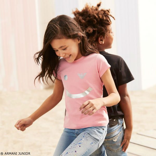 ARMANI JUNIOR Grils Pink Smiley T-Shirt