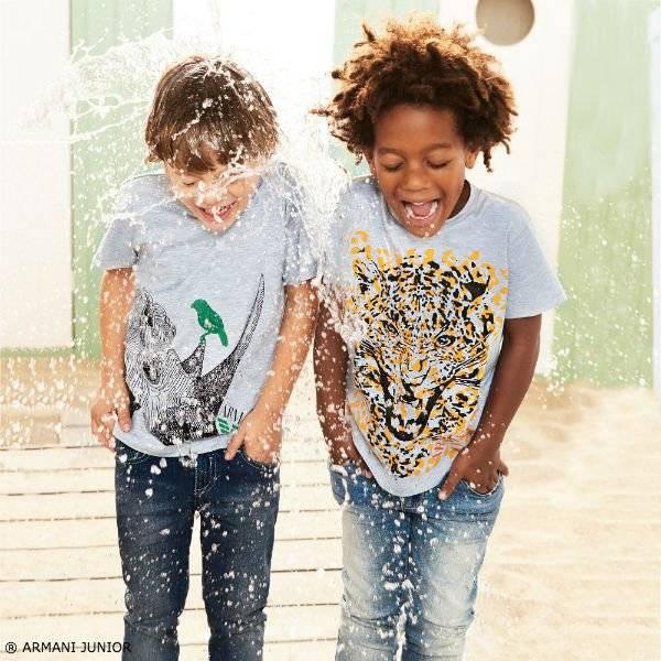ARMANI JUNIOR Boys Grey Leopard Print T-shirt