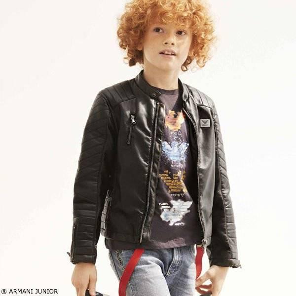 Armani Junior Blue Logo Tshirt and Leather Jacket