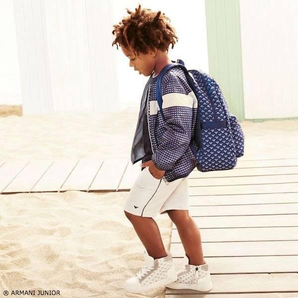 Armani Junior Boys Reversible Blue Print Jacket SS17