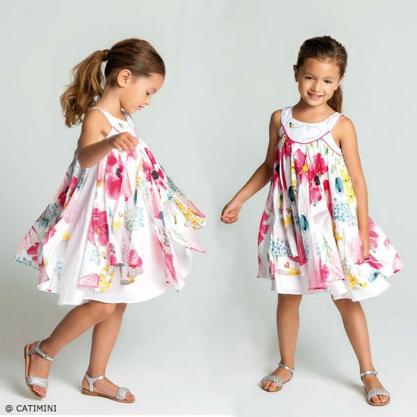 CATIMINI Girls White Floral Dress