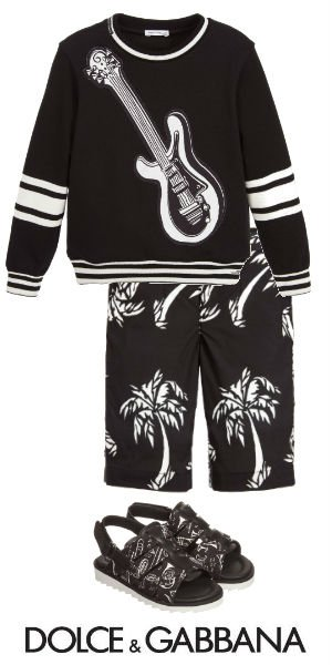 DOLCE GABBANA Boys Mini Me Black Jazz Sweater Cotton Palm Trees Pants