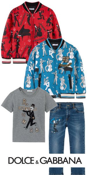 DOLCE GABBANA Boys Mini Me Blue or Red Jazz Music Print Jacket