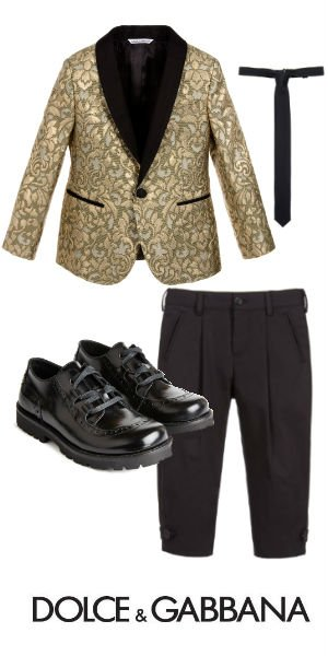 DOLCE GABBANA Boys Mini Me Gold Silk Jacquard Blazer Outfit