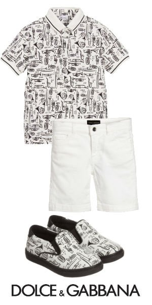 DOLCE GABBANA Boys Mini Me White Black Trumpet Print Polo Shirt Shoes