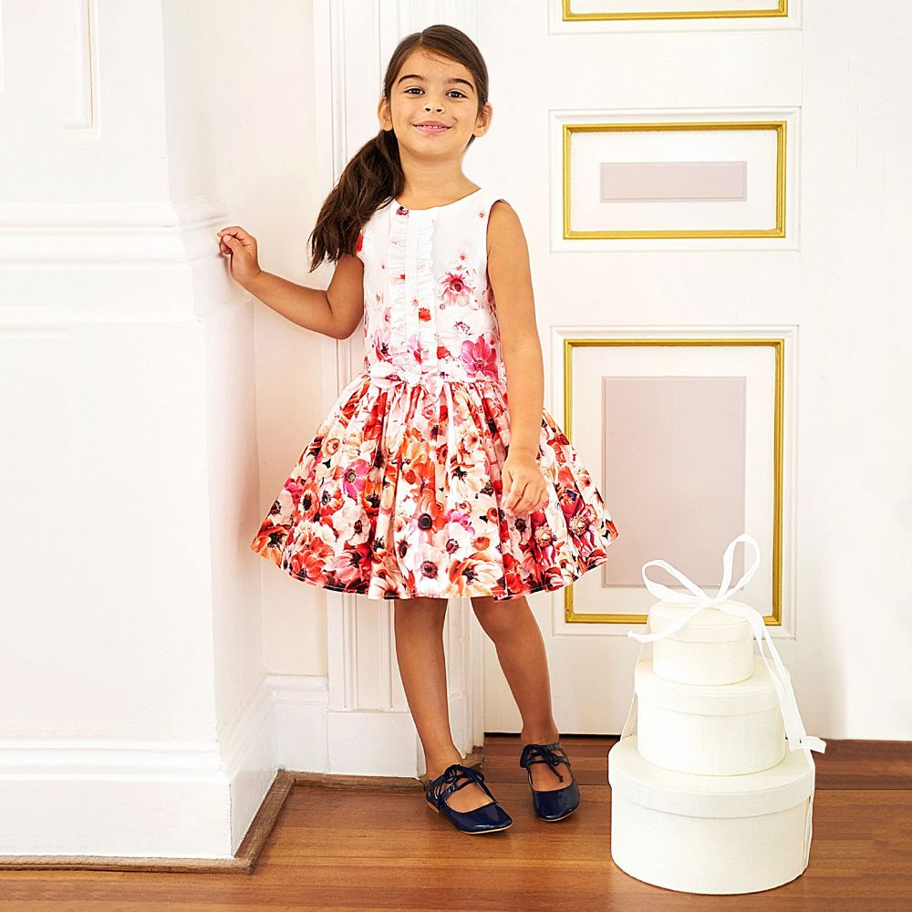 JOTTUM Girls Pink & White Floral Dress