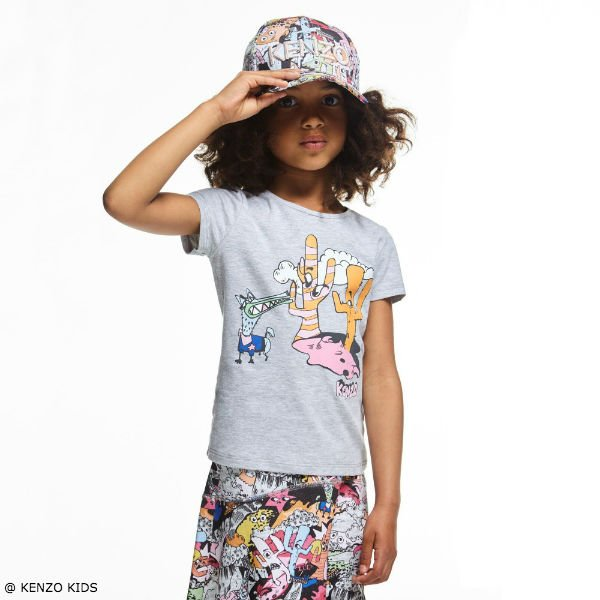 KENZO Girls Colorful Cartoon Cactus Look