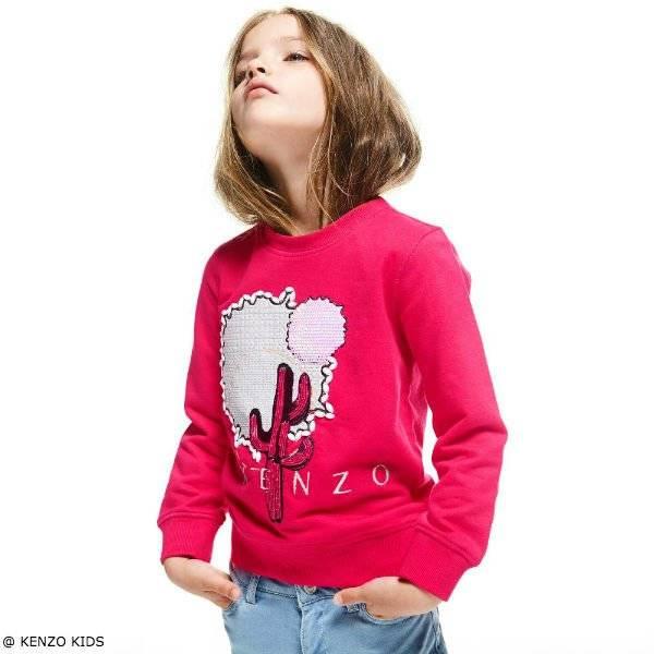 KENZO KIDS Girls Fuchsia Pink Dancing Cactus Sweatshirt