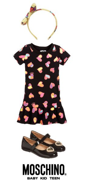MOSCHINO KID-TEEN Girls Mini Me Black Jersey Dress with Hearts