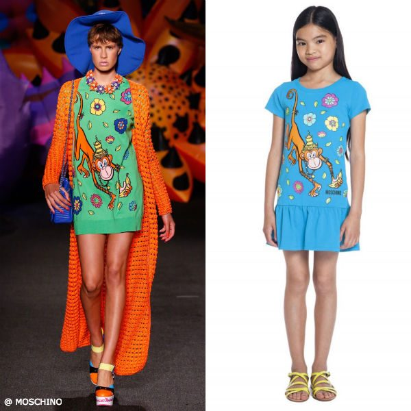 Moschino Girls Mini Me 70s Vibe Monkey Dress