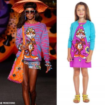 Moschino Girls Mini Me 70s Vibe Tiger Dress