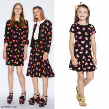Moschino Girls Mini Me Happy Hearts Black Dress
