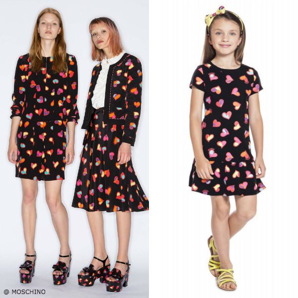 Moschino Girls Mini Me Happy Hearts Black Dress