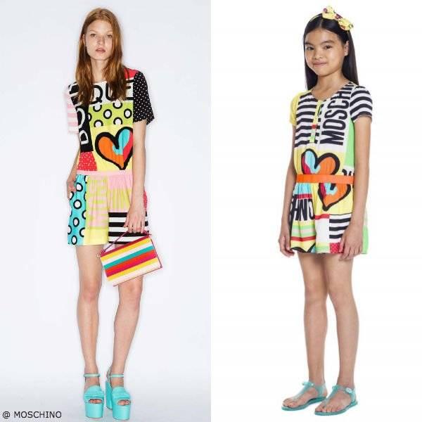 Moschino Girls Mini Me Happy Hearts Yellow Graphic Dress