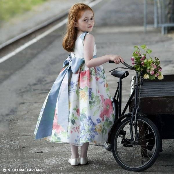 NICKI MACFARLANE Girls Floral Silk Organza Dress