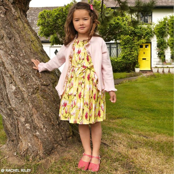 RACHEL RILEY Girls Yellow Floral Cotton Dress & Pink Knit Cardigan