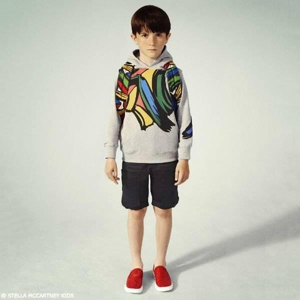 STELLA MCCARTNEY KIDS Boys Grey Heath Brush Stroke Sweatshirt