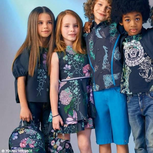 YOUNG VERSACE Girls Navy Blue Floral Print Dress