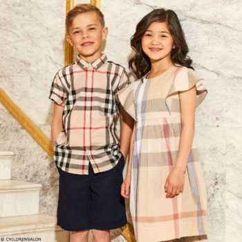 BURBERRYBoys Beige New Classic Check Shirt Girls Dress